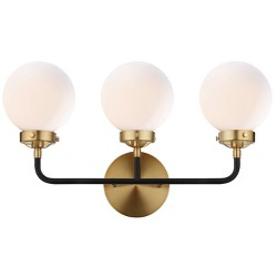 """22"""" Caleb 3 Light Brass Wall Sconce Brass (Includes Energy Efficient Light Bulb) - JONATHAN Y"""