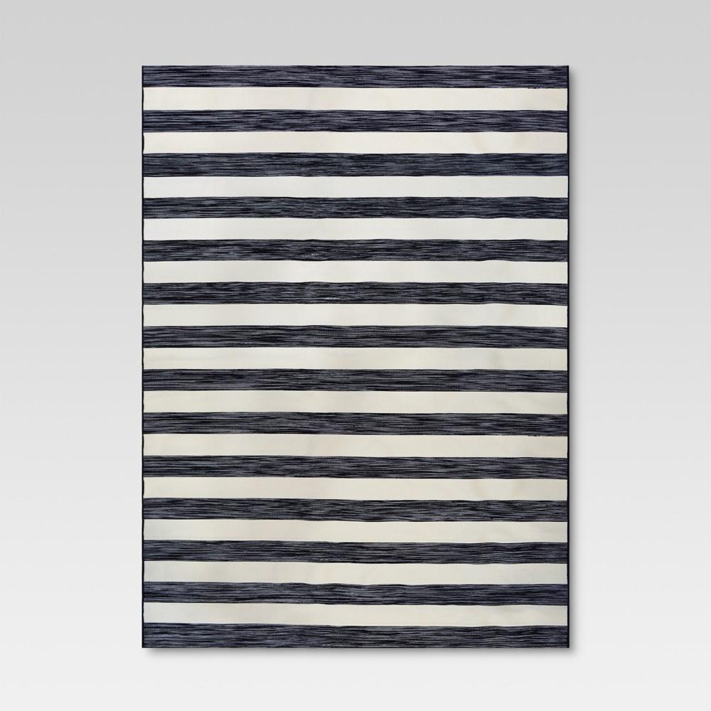 9' x 12' Worn Stripe Outdoor Rug Black - Threshold