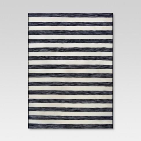 9' x 12' Worn Stripe Outdoor Rug Black - Threshold™ - image 1 of 4