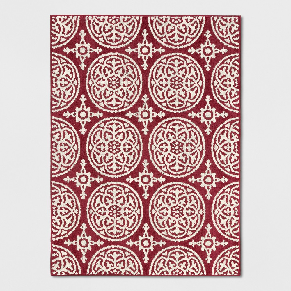 Red Medallion Tufted Accent Rug 4'X5'6 - Threshold