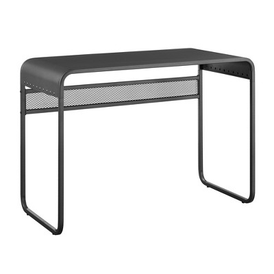 Industrial Metal Curved Top Writing Desk Gray - Saracina Home