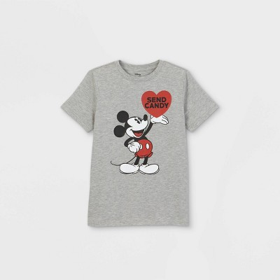 Boys' Disney Mickey Mouse 'Send Candy' Short Sleeve Graphic T-Shirt - Gray