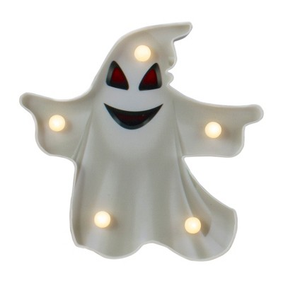 """Northlight 7"""" Lighted White Ghost Halloween Marquee Decoration"""