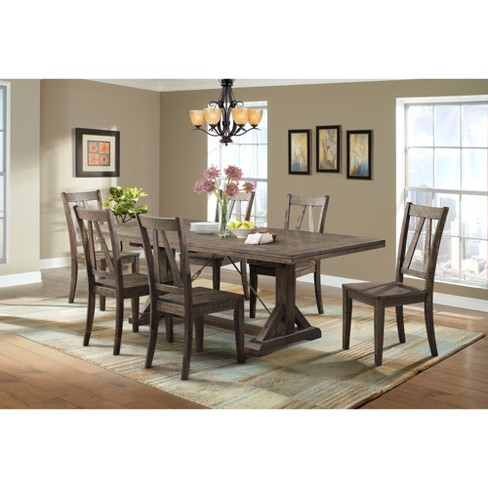 Flynn 7pc Dining Set Table And 6 Wooden Side Chairs Walnut Brown Picket House Furnishings