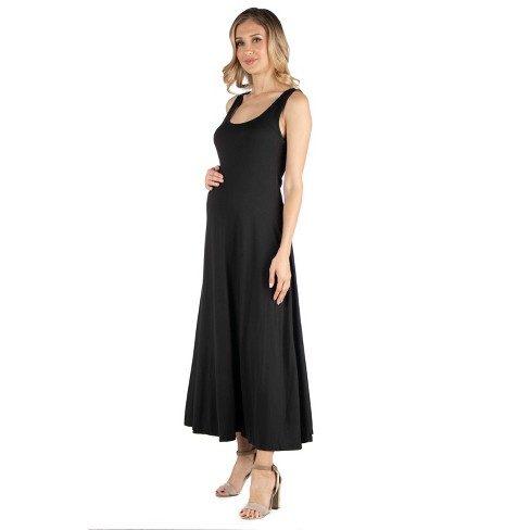 24seven Comfort Apparel Women's Maternity A Line Sleeveless Maxi Dress - image 1 of 3