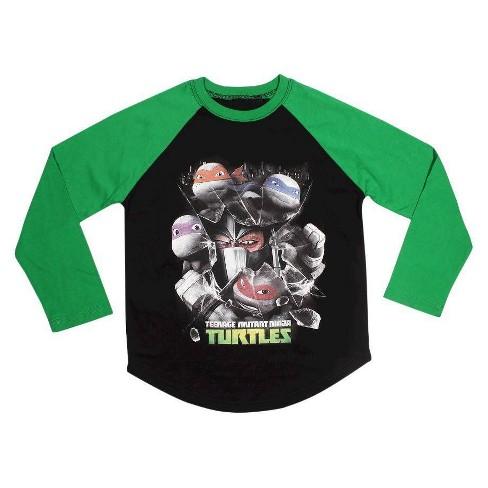 Nickelodeon Boys Long Sleeve Boys Black Ninja Turtles T-Shirt