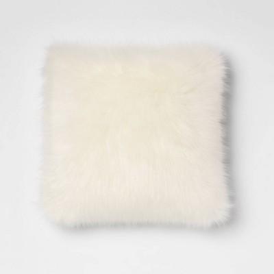 Faux Fur Square Throw Pillow Cream - Room Essentials™
