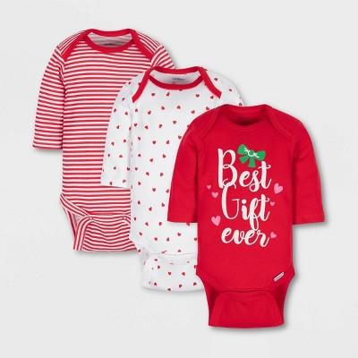 Gerber Baby Girls' 3pk 'Best Gift Ever' Long Sleeve 100% Cotton Bodysuit - Red/White 6-9M