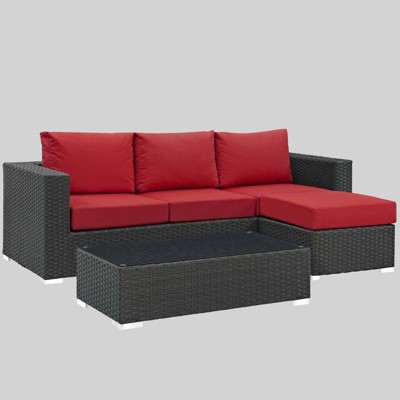 Sojourn 3pc Outdoor Patio Sectional Set with Sunbrella Fabric - Modway