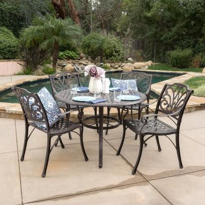 Alfresco 5pc Cast Aluminum Dining Set   Bronze   Christopher Knight Home :  Target