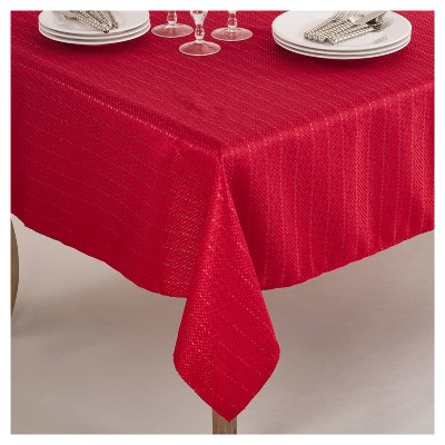 Red Stitched Design Classic Tablecloth (70 )- Saro Lifestyle®