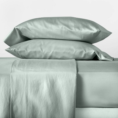 Queen 500 Thread Count Washed Supima Sateen Solid Sheet Set Sage Green - Casaluna™