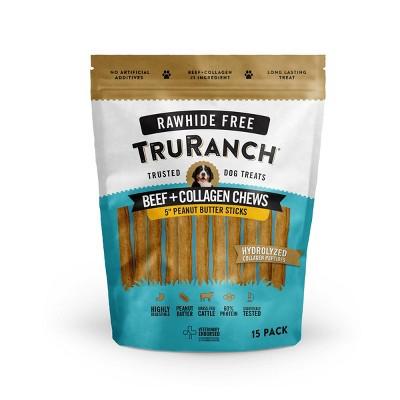 TruRanch Collagen Peanut Butter Sticks Rawhide Free Dog Treats - 15ct
