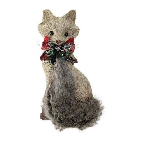 "Northlight 13.25"" Holiday Moments Sitting Brown Fox with Tail Curled Christmas Decoration - image 1 of 2"