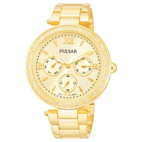 Women's Pulsar Crystal Bezel Dress Watch - Gold Tone - PP6106 - image 1 of 1