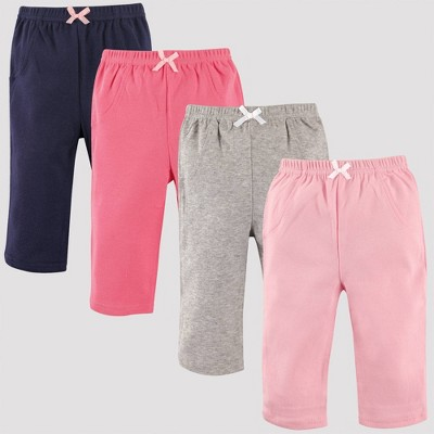 Luvable Friends Baby Girls' 4pk Tapered Ankle Pull-On Pants - Pink/Gray/Blue 3-6M