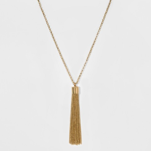 Women's Chain Tassel Necklace - A New Day™ Gold - image 1 of 3