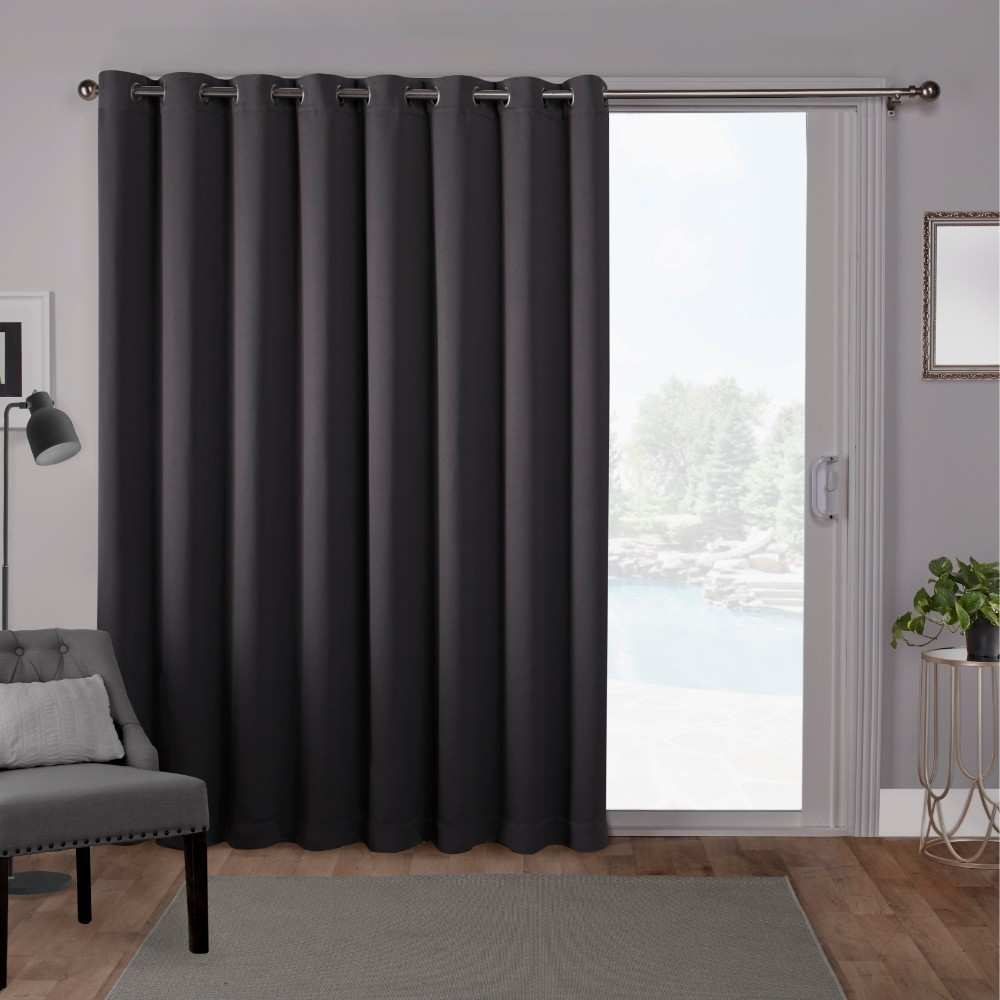 "Image of ""100""""x84"""" Sateen Blackout Solid Grommet Top Extra Wide Curtain Panel Gray - Exclusive Home"""