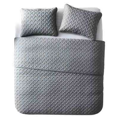 3pc Full/Queen Nina Embossed Quilt Set Gray - VCNY Home