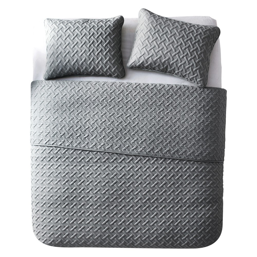 3pc King Nina Embossed Quilt Set Gray - Vcny Home