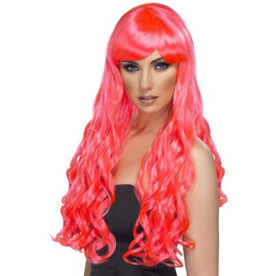 Smiffys Desire Long Curly Costume Wig Adult Fuchsia