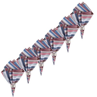 C&F Home Heartland Stripes Cotton Reversible July 4th Napkin Set of 6
