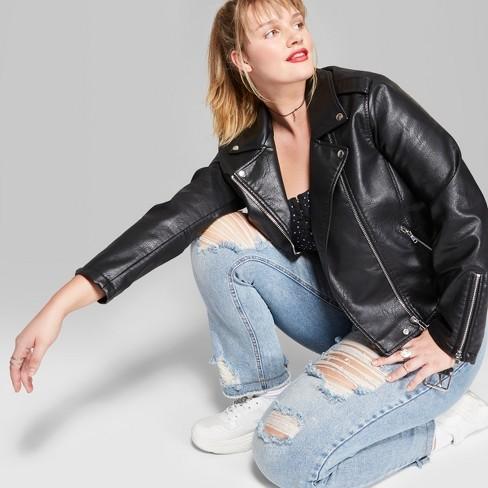 Women S Plus Size Faux Leather Moto Jacket Wild Fable Target