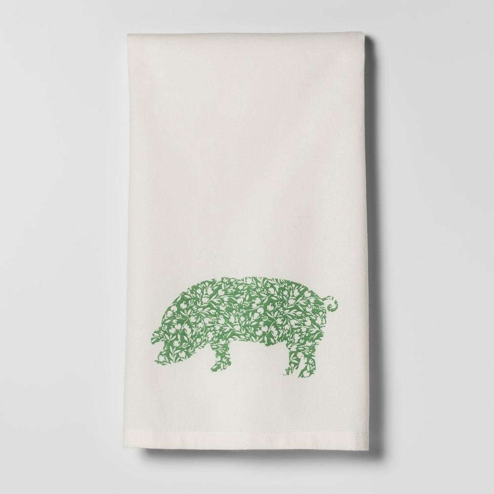 Pig Kitchen Towel White/Green - Threshold