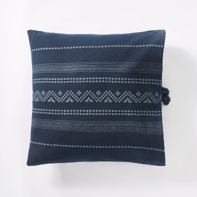 Woven Textured Square Throw Pillow Dark Blue - Threshold™ designed with Studio McGee