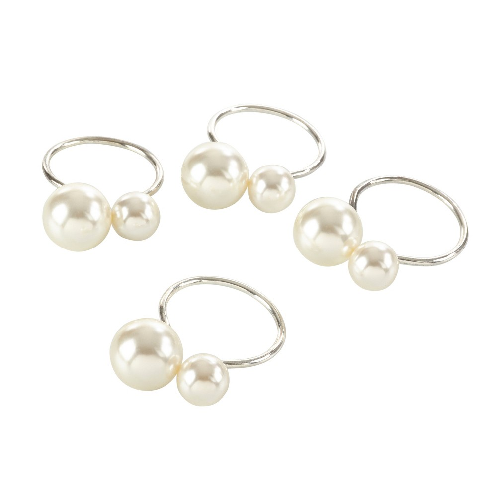 """Image of """"4pk Silver Pearl Napkin Ring 1.5"""""""" - Saro Lifestyle"""""""