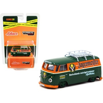 "Volkswagen T1 Van Low Ride w/Roof Rack ""Jagermeister"" Green & Orange ""Collaboration Model"" 1/64 Diecast by Schuco & Tarmac Works"