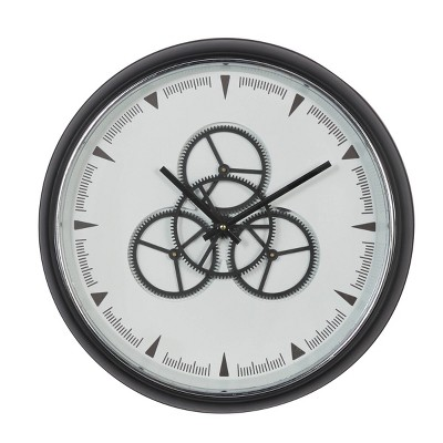 """20"""" x 20"""" Round Metal Wall Clock with Functioning Gear Center Black/White - Olivia & May"""