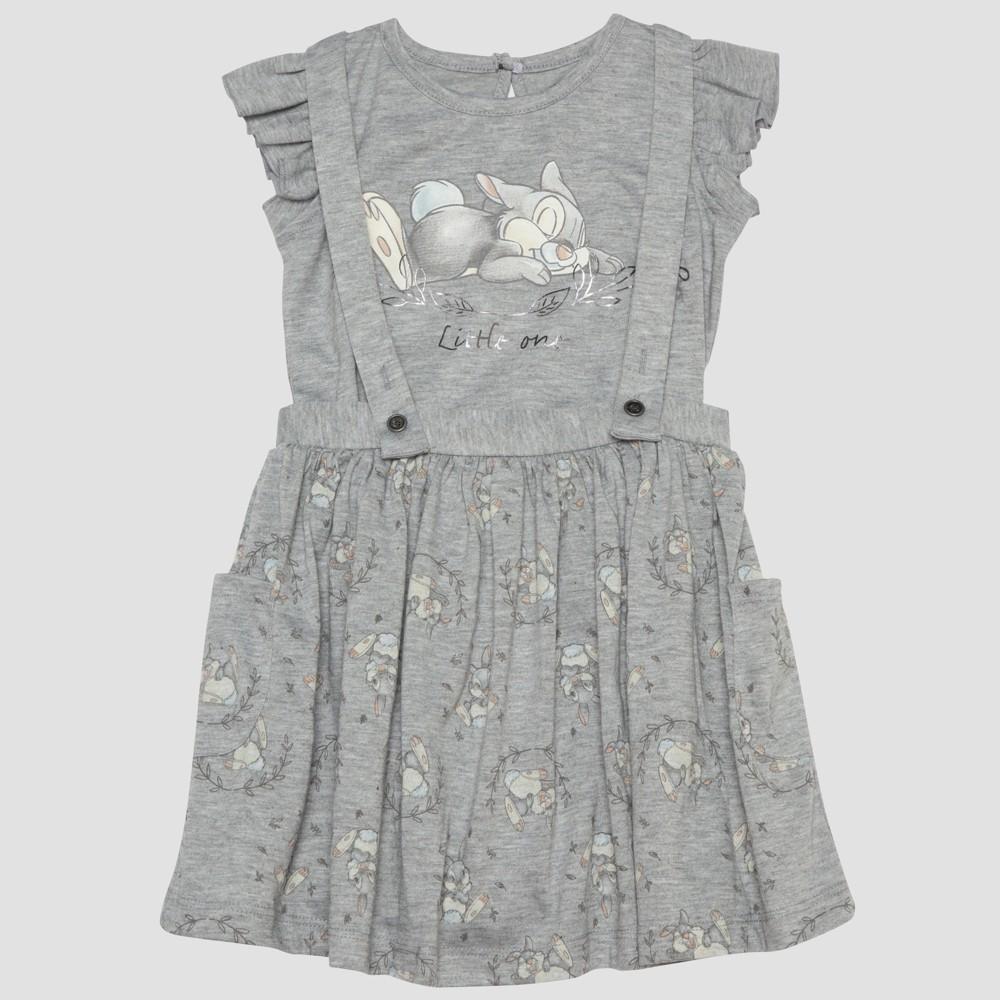 Toddler Girls' 2pc Disney Bambi Thumper Short Sleeve T-Shirt and Skirt Set - Gray 2T