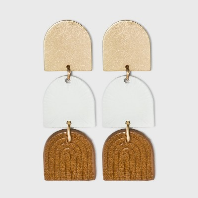 Sprayed Vegan Leather Half Moon Drop Earrings - Universal Thread™