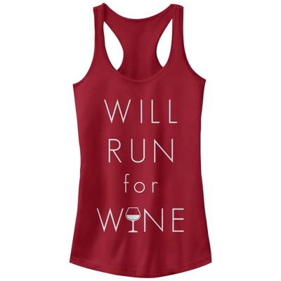Junior's CHIN UP Will Run For Wine Glass Racerback Tank Top