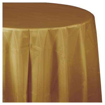 Glittering Gold Round Plastic Tablecloth
