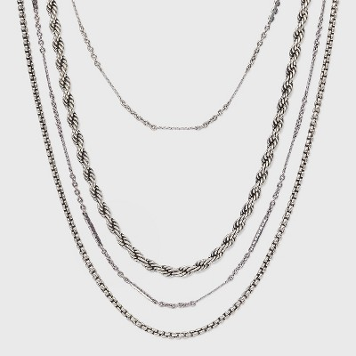 Mixed Chain Layered Multi-Strand Necklace - Universal Thread™ Silver