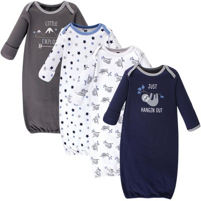 Hudson Baby Infant Boy Cotton Long-Sleeve Gowns 4pk, Little Explorer, 0-6 Months