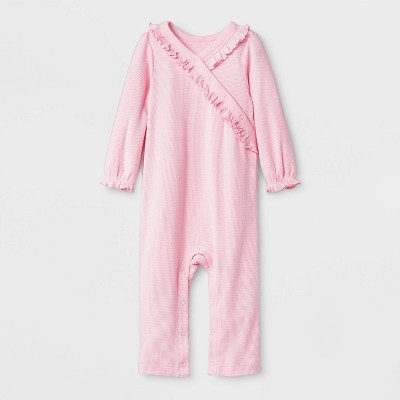 Baby Girls' Thermal Ruffle Romper - Cat & Jack™ Pink 0-3M