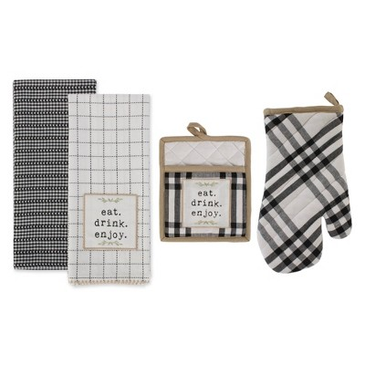 4pc Cotton Home Sweet Farmhouse Kitchen Pot Holder and Dishtowel Set Black - Design Imports