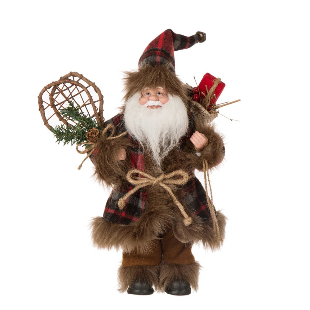 "Image of ""12"""" Plaid Santa Figurine - Glitzhome"""