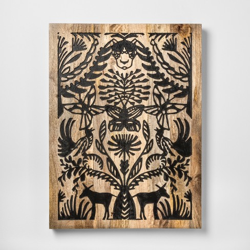 Mallorca Wood Carved Decorative Wall Art Black - Opalhouse™ : Target