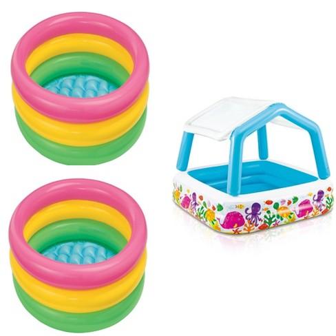 Intex Sunset Inflatable Baby Pool (2 Pack) & Inflatable Ocean Scene Kids Pool - image 1 of 4