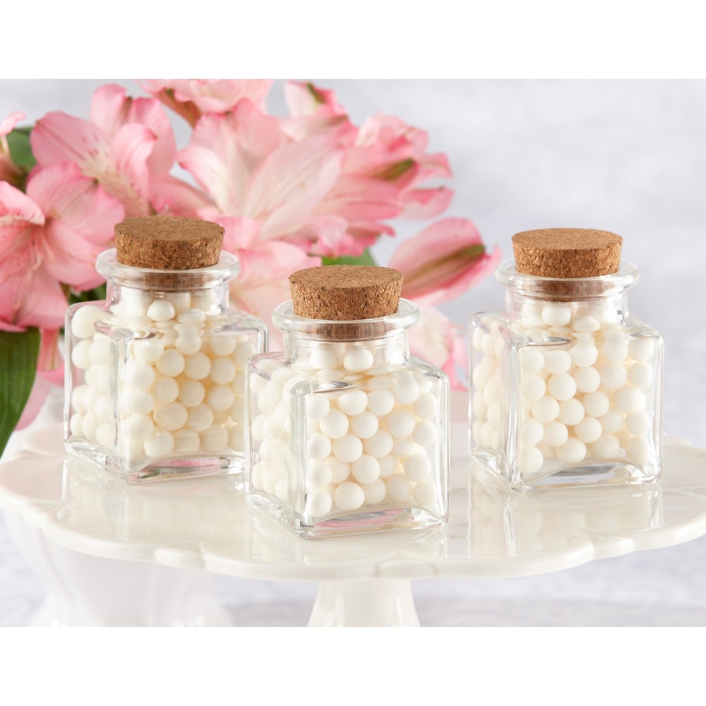 Image of 12ct Kate Aspen Petite Treat Square Favor Jar with Cork Stopper, Clear