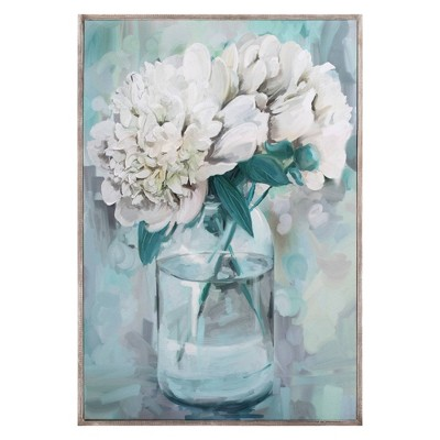 """24"""" x 36"""" Farmhouse Peonies II by Studio Arts Wrapped Framed Canvas - Fine Art Canvas"""