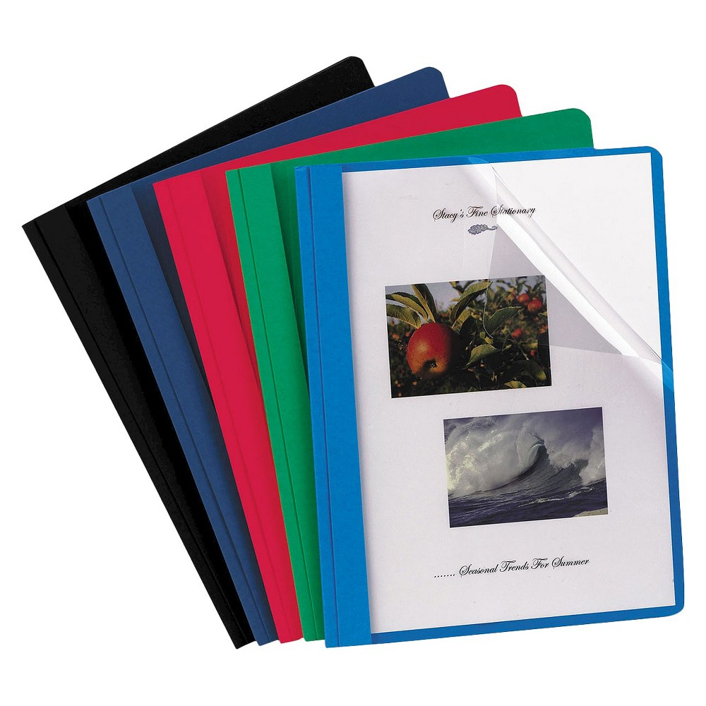 Oxford Clear Front Report Cover with 3 Fasteners, Letter - Assorted (25 Per Box), Black