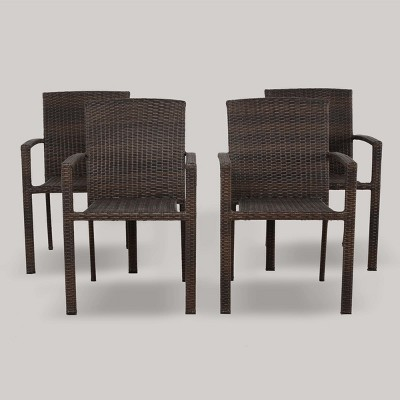 Sheridan 4pk All Weather Wicker Outdoor Stacking Patio Chairs   Brown    Threshold™