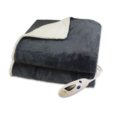 Velour and Sherpa Electric Throw Blanket - Biddeford Blankets