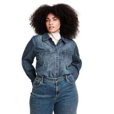 Women's Long Sleeve Denim Button-Down Shirt - Nili Lotan x Target Blue