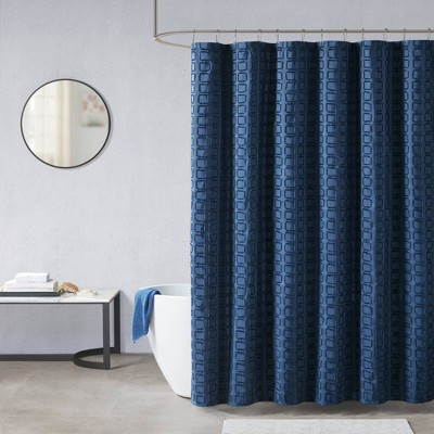 Gridd Woven Clipped Solid Shower Curtain